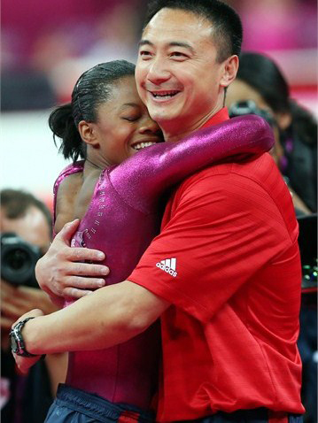 Gabby-Douglas-hugs-coach-Liang-Chow-after-floor-exercise-individual-all-around-final-080212, The power of Gabby Douglas, Culture Currents