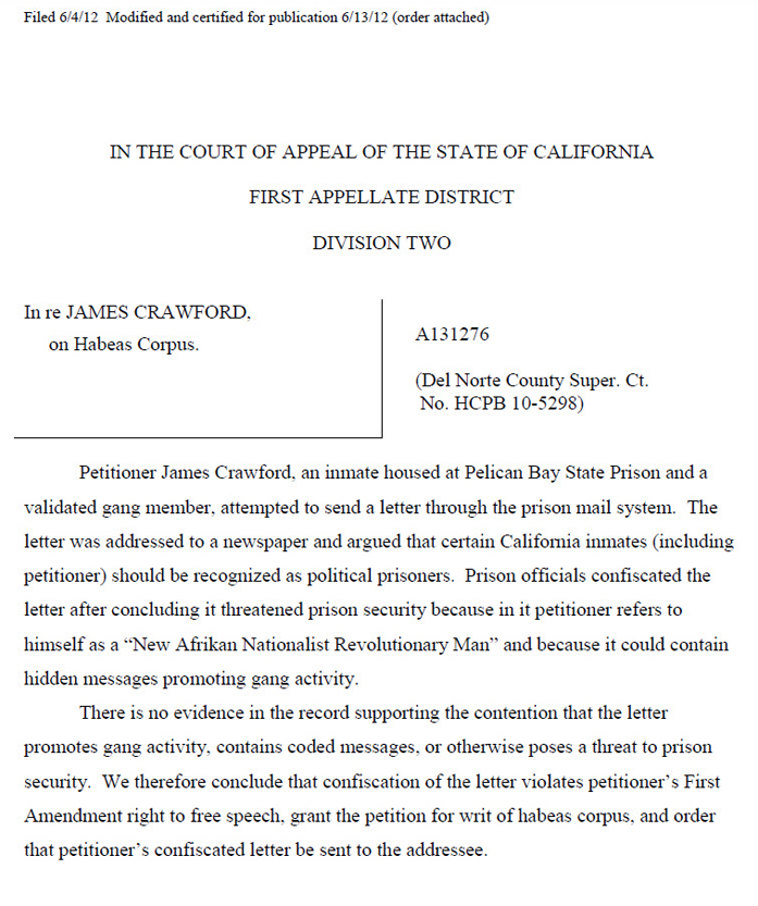 In_re_James_Crawford_decision, A victory in the First Amendment Campaign, Behind Enemy Lines