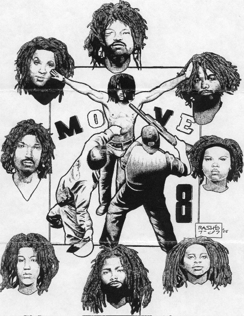 Move_8_drawing_by_Rashid_Johnson, On the Move! Support the Move 9 on their 34th year of wrongful imprisonment, Behind Enemy Lines