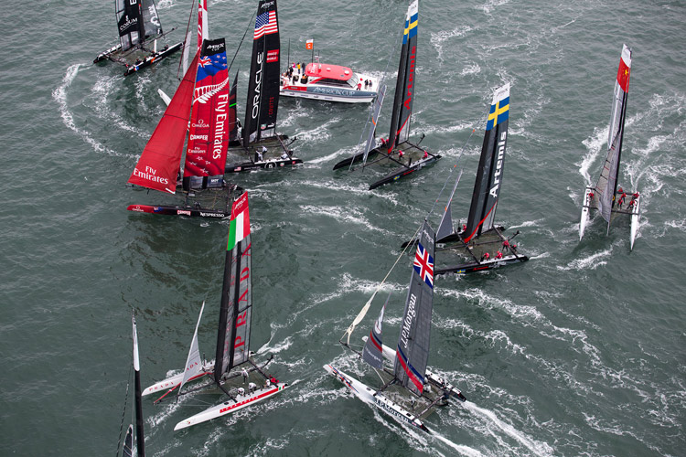 America's-Cup-boats-on-SF-Bay-082512-2-by-c-2012-Gilles-Martin-Raqet-ACEA, Ships ahoy! America's Cup overflows $1 billion or more, Culture Currents