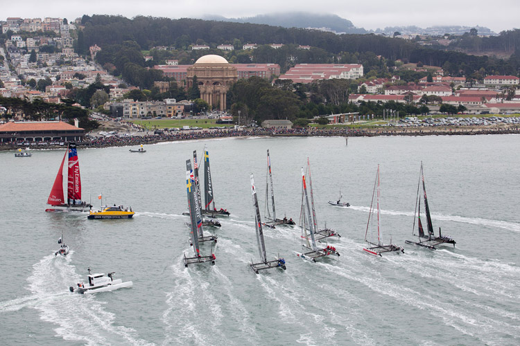 America's-Cup-boats-on-SF-Bay-082512-by-c-2012-Gilles-Martin-Raqet-ACEA, Ships ahoy! America's Cup overflows $1 billion or more, Culture Currents