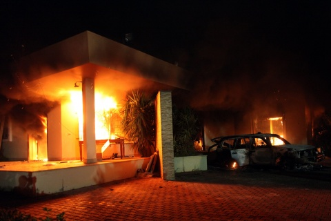 Benghazi-attack-villa-burning-091112-by-EPA-BGNES, Benghazi attack: Libya's Green Resistance did it … and NATO powers are covering up, World News & Views