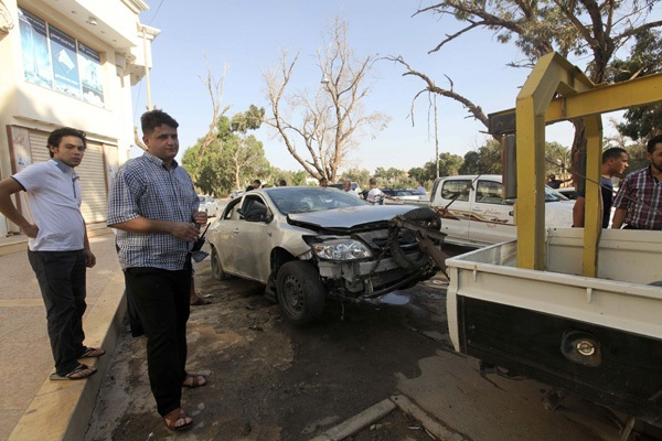 Car-of-Abdelahim-Rifai-first-secretary-at-the-Egyptian-consulate-exploded-Benghazi-082012-by-Esam-Al-Fetori-Reuters, Benghazi attack: Libya's Green Resistance did it … and NATO powers are covering up, World News & Views