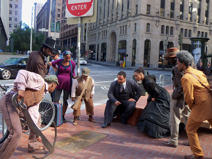 Cast+studies+Market++Battery+plaque+in+'Sailing+Away'+0912+by+Wanda, Joanna Haigood's 'Sailing Away': Black exodus from San Francisco 1858 and 2012, Culture Currents