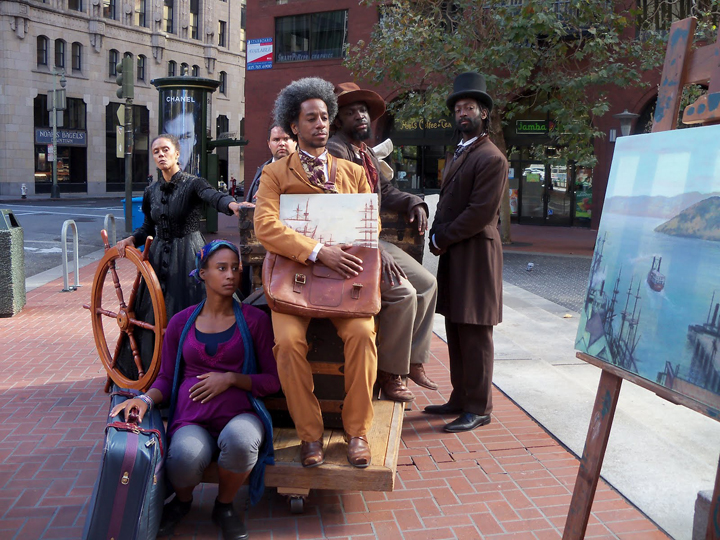 Cast_contemplates_Sailing_Away_Market_St._0912_by_Wanda, Joanna Haigood's 'Sailing Away': Black exodus from San Francisco 1858 and 2012, Culture Currents