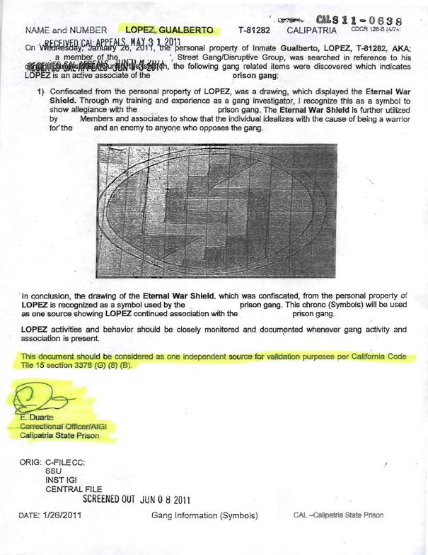 Gualberto_Lopez_validation_evidence_1, My bogus validation and torture at Calipatria ASU, Behind Enemy Lines