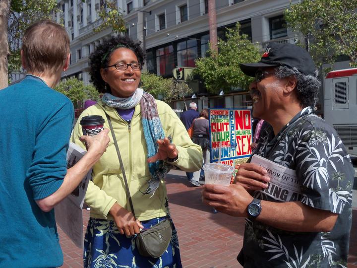 Joanna+Haygood+musician+Anthony+Brown+at+Powell++Market+'Sailing+Away'+0912+by+Wanda, Joanna Haigood's 'Sailing Away': Black exodus from San Francisco 1858 and 2012, Culture Currents
