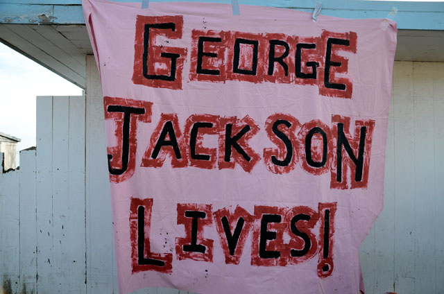 Occupy_San_Quentin_George_Jackson_lives_banner_022012_by_Alex_Darocy_Indybay, California prisoners make historic call to end hostilities between racial groups in California prisons and jails, Behind Enemy Lines