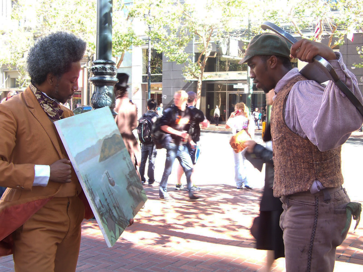 Robert_Henry_Johnson_as_Grafton_Tyler_Brown_painter_Matthew_Wickett_as_Archy_Lee_escaped_slave_in_Sailing_Away_Market_St._0912_by_Wanda, Joanna Haigood's 'Sailing Away': Black exodus from San Francisco 1858 and 2012, Culture Currents