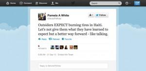 US_Ambassador_to_Haiti_Pamela_White_tweet_2_0921121-300x147, Outsiders EXPECT burning tires in Haiti ... not accurate reporting, World News & Views