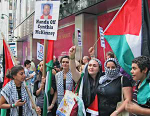 Hands_off_Cynthia_McKinney_Palestinian_women_rally_Israeli_mission_UN_070109_by_Monica_Moorehead_WW, Cynthia McKinney on leadership, National News & Views