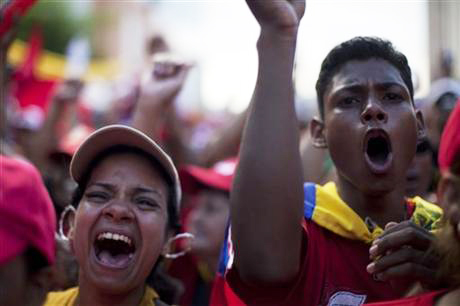 Hugo-Chavez-rally-2-days-before-election-youth-shouting-100312-by-Rodrigo-Abd-AP, Victory for Chávez is a victory for Latin America, World News & Views