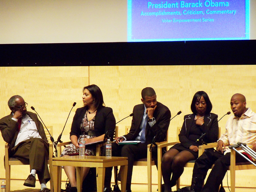 Obama-forum-Prof.-Robert-Smith-London-Breed-Theo-Ellington-Lynette-Sweet-JR-at-SF-Main-Library-092312-by-Wanda, Wanda's Picks for October 2012, Culture Currents