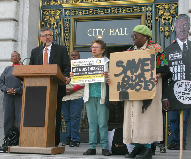 Supervisor-John-Avalos-Vivian-Richardson-Ross-Rhodes-Kathryn-Galves-rally-before-foreclosure-moratorium-hearing-040212-by-Occupy-Bernal, From foreclosure to homelessness, Local News & Views