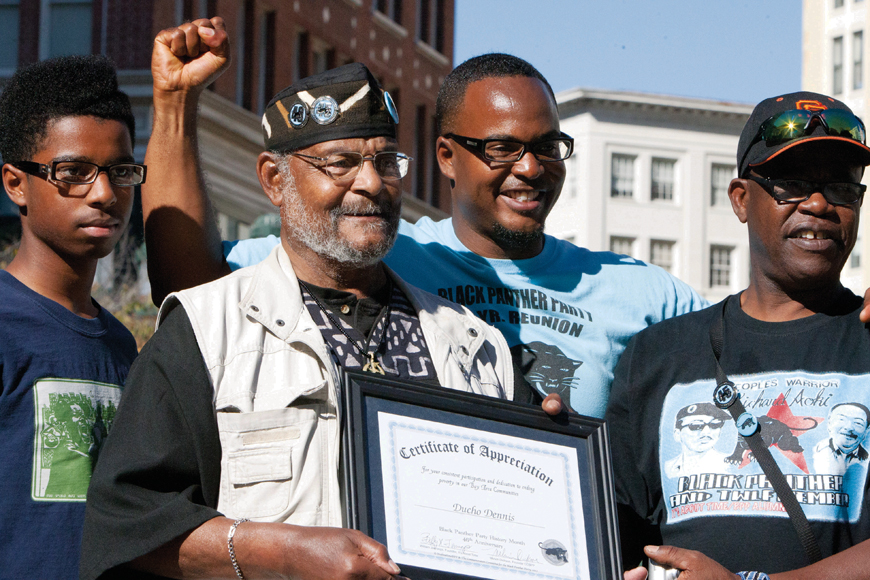 Black-Panther-Party-46th-Anniversary-Billy-X-Refa-Senay-Refa1-his-father-Ducho-Dennis-Refas-son-at-Oscar-Grant-Plaza-101312-by-Malaika-web, Terry Collins and Willie Ratcliff, the OGs of KPOO and the Bay View, discuss life and Black Media Appreciation Night, Local News & Views