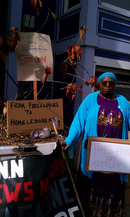 Kathryn-Galves-in-front-of-foreclosed-home-Foreclosure-to-Homelessness-rally-102312, From foreclosure to homelessness, National News & Views