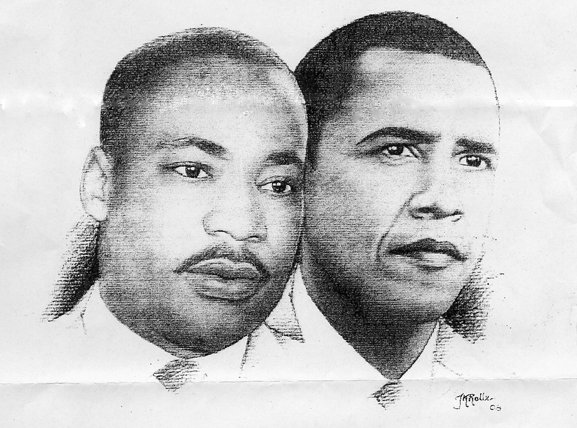 Martin-Luther-King-Barack-Obama-1208-drawing-web, Mr. President, three wishes of a Black American, National News & Views
