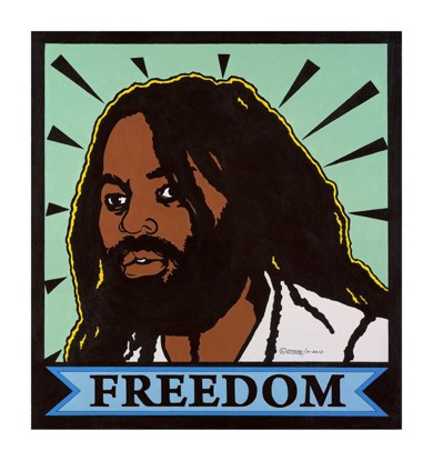 Mumia-Freedom-2010-by-Emory-Douglas, Terry Collins and Willie Ratcliff, the OGs of KPOO and the Bay View, discuss life and Black Media Appreciation Night, Local News & Views