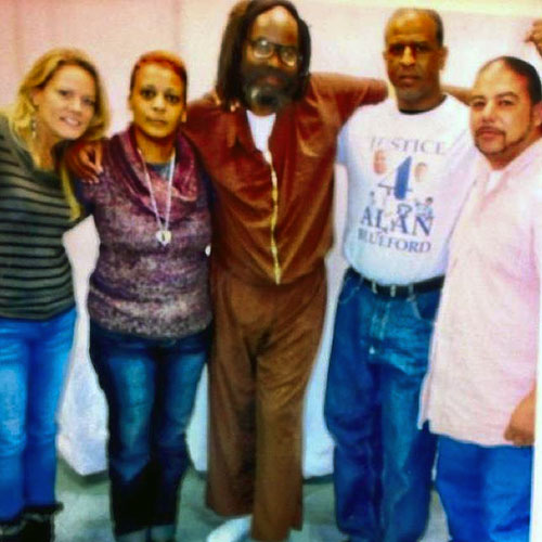 Mumia-with-Bluefords-Prof.-Sandra-Jones-Jeralynn-Mumia-Adam-Jack-Bryson-102912, Tears of sorrow and rage: Oakland PD, the Black Panthers and Alan Blueford, Behind Enemy Lines