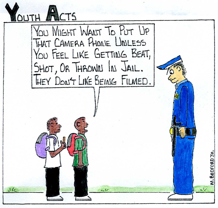 Marcus-Bedford-recording-cops-cartoon-0212-web, Supreme Court rules cops can be filmed, National News & Views