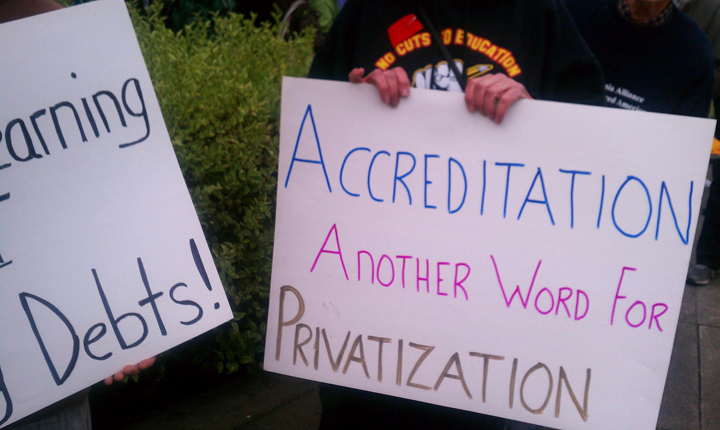 City College protest main campus 'Accreditation another word for Privatization' 011113 by PNN