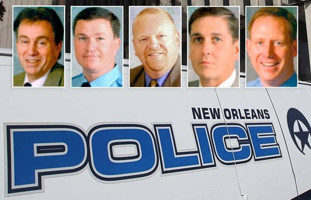 Henry Glover's NOPD murderers pics on police car Off. Robert Italiano, Lt. Travis McCabe, Off. Greg McRae, Off. David Wa