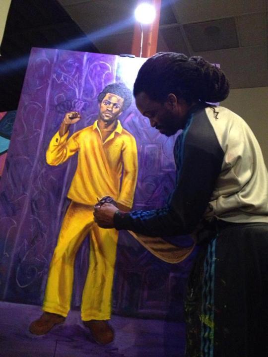 Malik Seneferu paints Huey P. Newton 2013