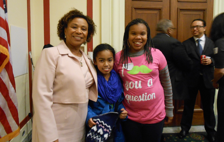 Rep. Barbara Lee, Wilda 12, Bianna 9, Wanda's niece and granddaughter Inauguraal Sunday constituent reception DC 012013