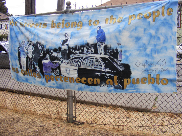'The streets belong to the people' banner