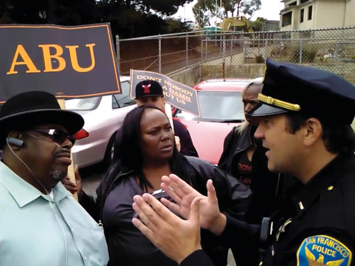 ABU protest Willie Brown Academy James Richards, SFPD Capt. Robert OGÇÖSullivan 082112 courtesy ABU, web