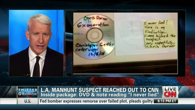 Anderson-Cooper-CD-note-I-never-lied-mailed-by-Christopher-Dorner-020713-by-CNN, Cop-on-cop crime in LA: American blowback, National News & Views