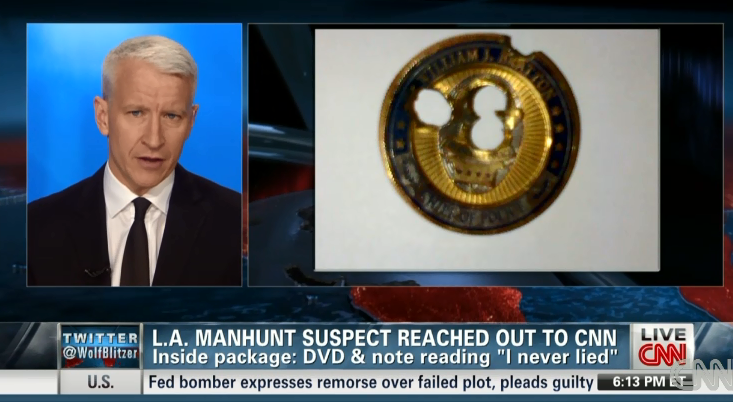 Anderson Cooper bullet-ridden William Bratton coin mailed by Christopher Dorner 020713 by CNN