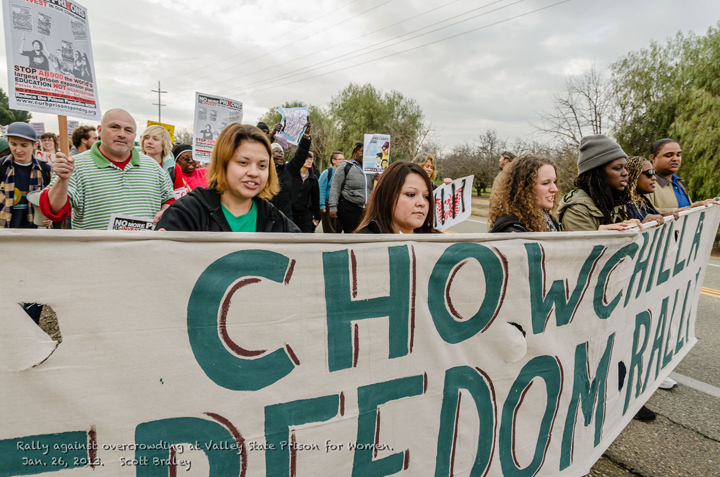 Rally at Chowchilla women's prison to protest overcrowding.