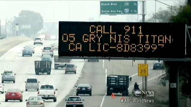 Chris Dorner manhunt freeway sign 020713