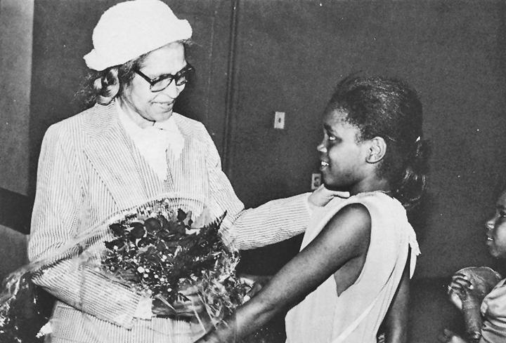 Oakland Community School students greet Rosa Parks, web