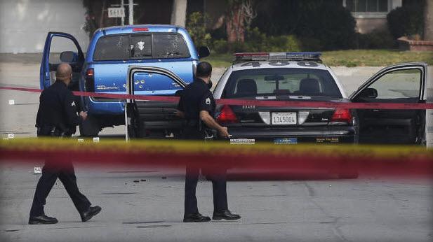 Truck 2 women shot by LAPD in Chris Dorner manhunt 020713 by Chris Carlson, AP