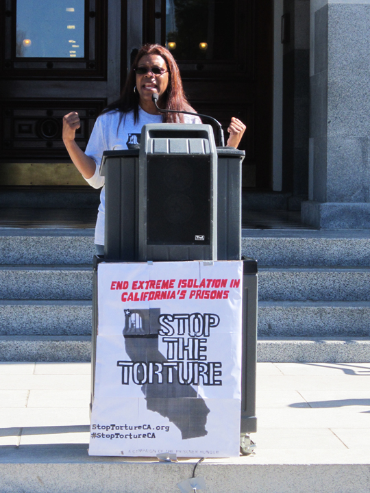 Assembly-hearing-on-SHUs-Daletha-Hayden-speaks-at-rally-022513-by-Denise-Mewbourne-web, Sacramento hearing exposes CDCR's hidden agenda, Behind Enemy Lines
