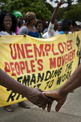 South African Unemployed Peoples Movement march led by women