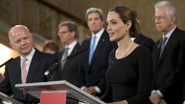 British-Foreign-Secretary-William-Hague-U.S.-Secretary-of-State-John-Kerry-other-G8-leaders-Angelina-Jolie-041113-by, White woman's burden: Angelina Jolie, the G8 and rape in the DRC, World News & Views