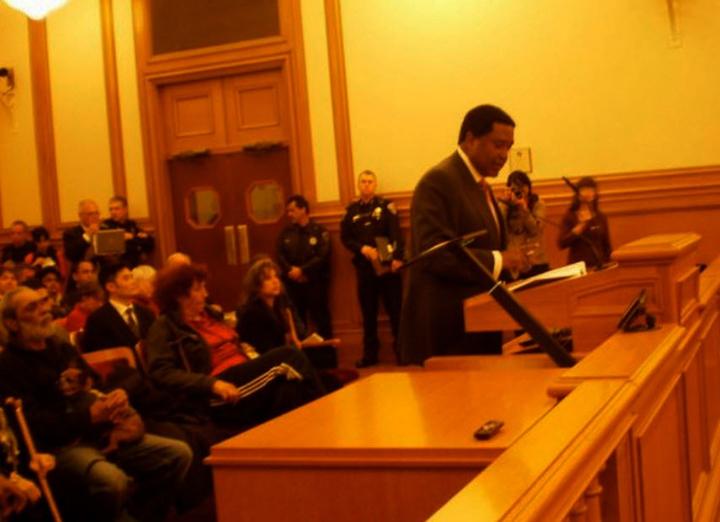 John Burris at SF Police Comn taser hearing 022311 by Carol Harvey
