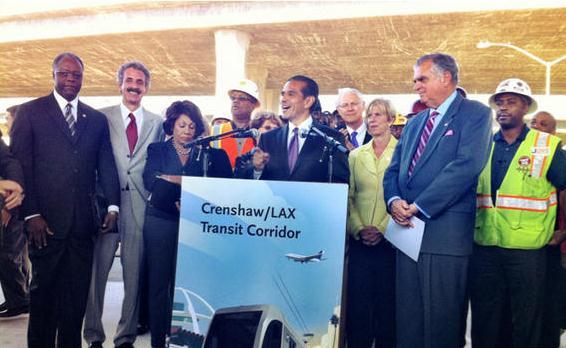 LA-Mayor-Villaraigosa-press-conf-on-tour-Crenshaw-Rail-Project-101012-by-USDOT, LA mayor holds contractors accountable for lack of Blacks hired on Phase I of Crenshaw Rail Project, National News & Views