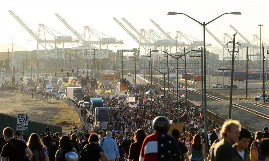 Occupy Oakland General Strike view from Adeline St. Bridge to Port of Oakland 110211