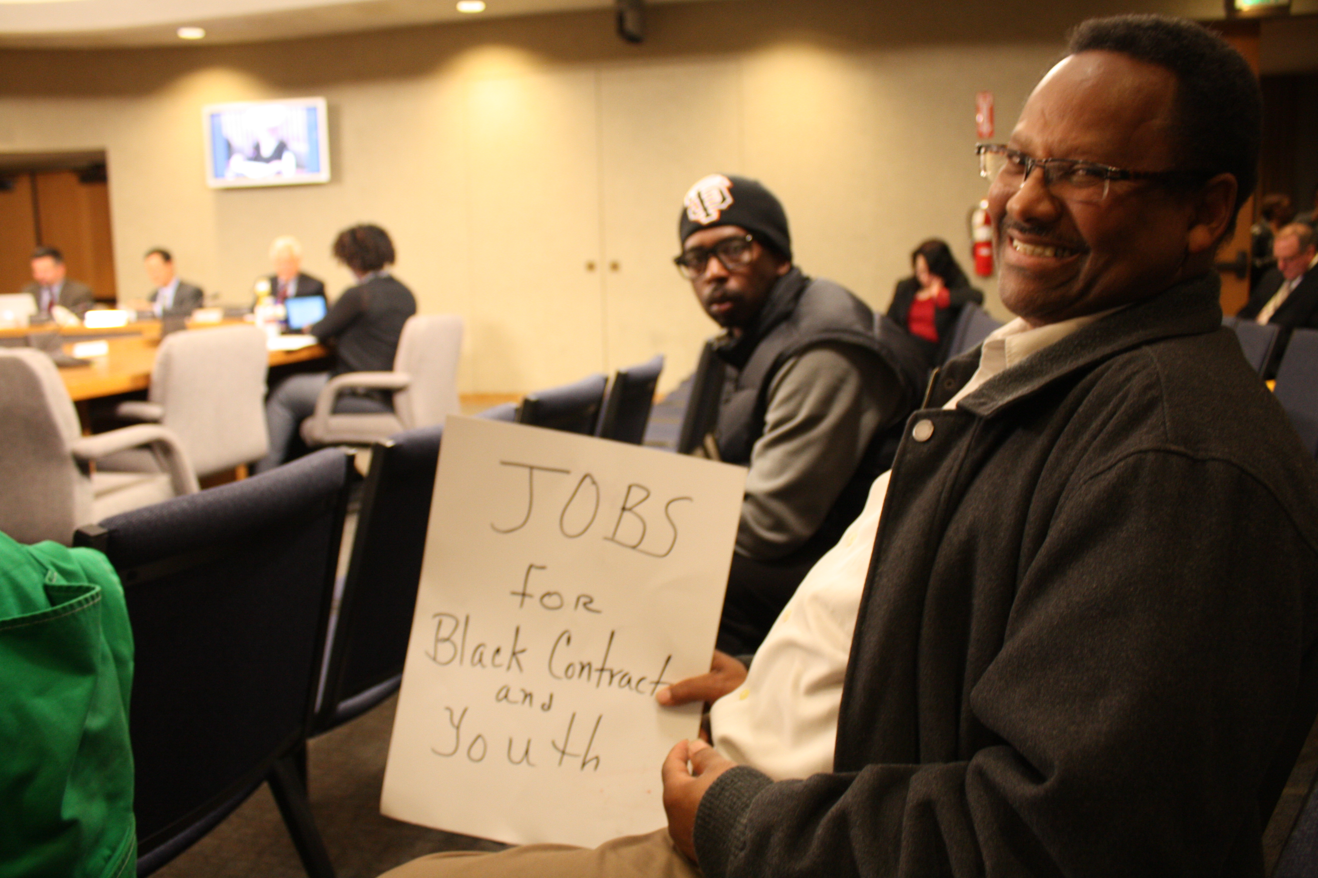 SF School Board re Willie Brown school Kevin Epps, Mike Brown 'Jobs for Black contractors and youth' 021213 by Ken Johns