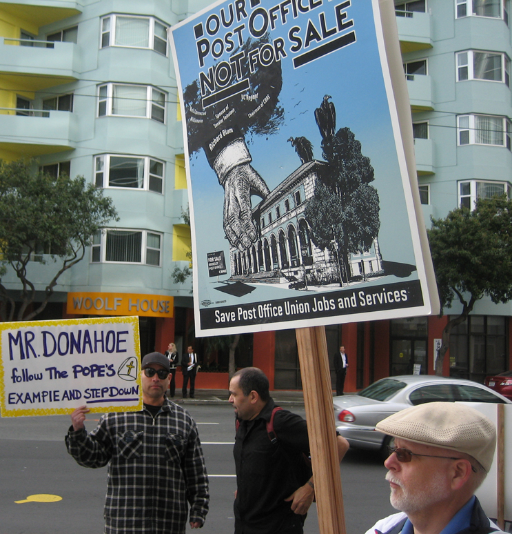 US-Postmaster-Donahoe-Save-the-Peoples-Post-Office-demo-SF-031813-by-Dave-Welsh, Postal workers picket their boss, US Postmaster General Patrick Donahoe, Local News & Views