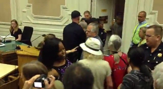 Berkeley Copwatch, Kayla Moore family protesting BPD murder at City Council attacked by BPD 043013
