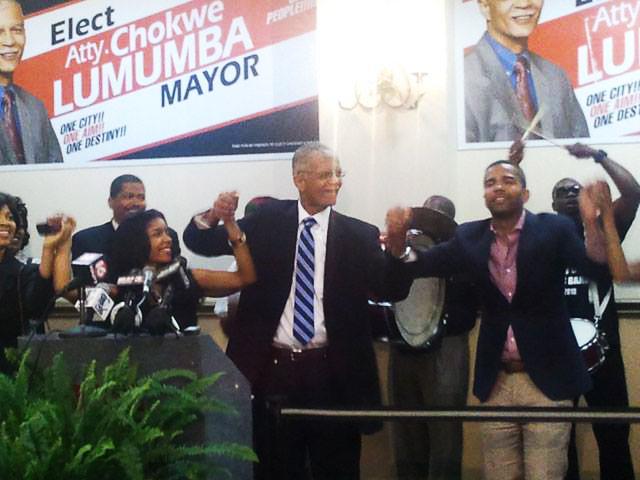 Chokwe Lumumba, son Chokwe Antar, daughter Rukia, supporters celebrate mayoral victory 060513