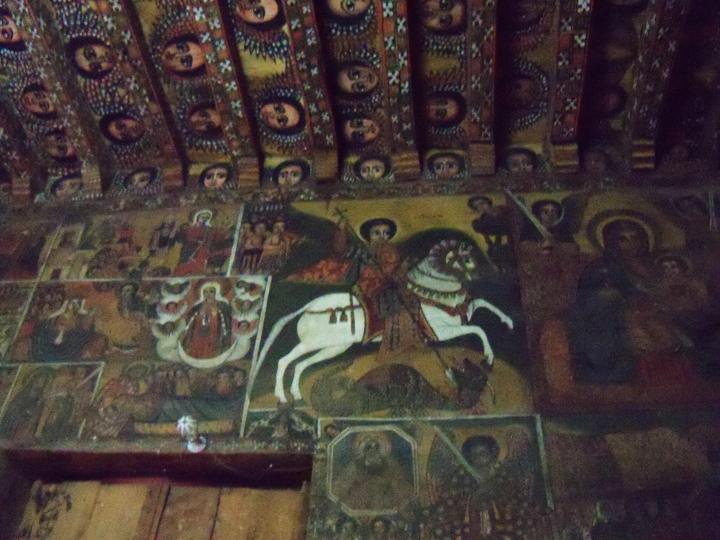 Ethiopia- Gondar church paintings on wall, ceiling 0613 by Wanda, web