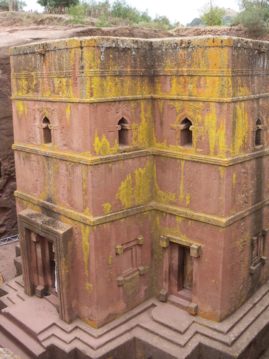Ethiopia- rose colored granite church carved from mountain, outside in, connected to others by tunnels, Lalibela 0613 by
