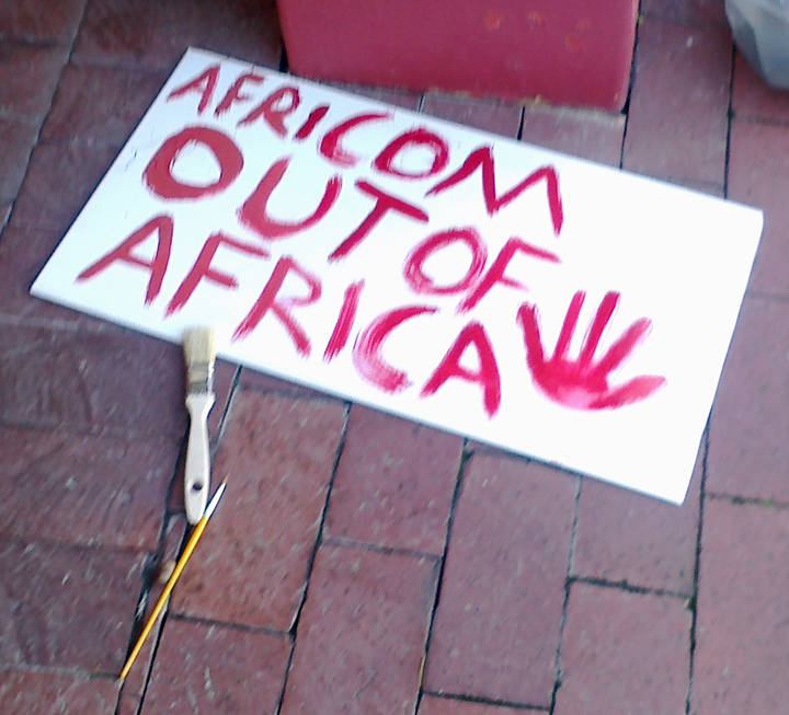 NObama Coalition Cape Town South Africa protest sign 'Africom out of Africa' 062213