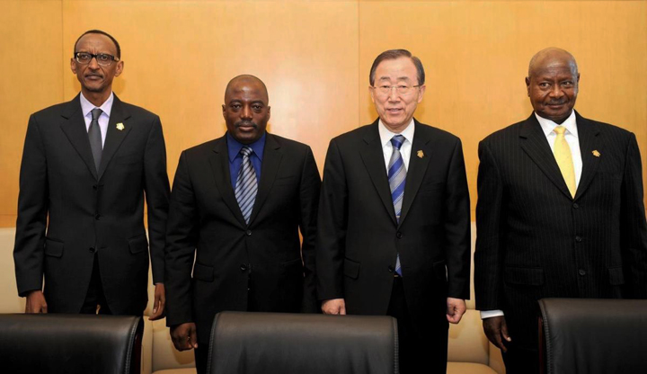 Paul Kagame, Joseph Kabila, Ban Ki-moon, Yoweri Museveni at African Union summit 012813